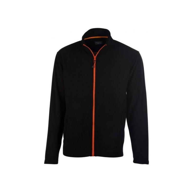 veste polaire manches longues homme noir/orange avant