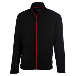 veste polaire manches longues homme noir/rouge avant