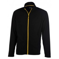 veste polaire manches longues homme noir/jaune avant