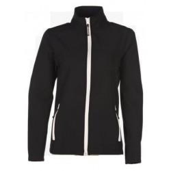veste softshell bicolor manches longues femme noir/blanc