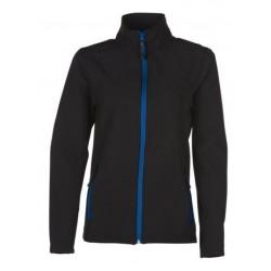 veste softshell bicolor manches longues femme noir/bleu
