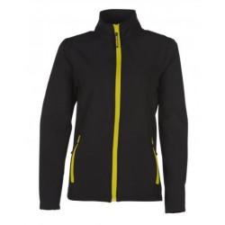 veste softshell bicolor manches longues femme noir/jaune