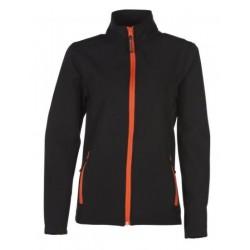 veste softshell bicolor manches longues femme noir/orange