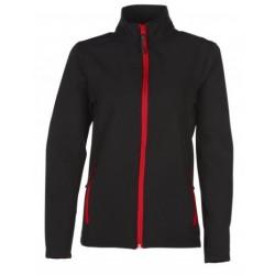 veste softshell bicolor manches longues femme noir/rouge