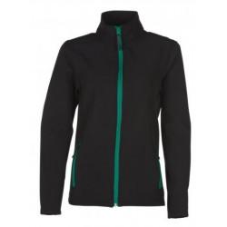 veste softshell bicolor manches longues femme noir/vert