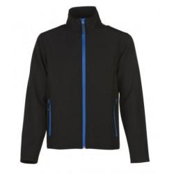 veste softshell bicolor manches longues homme noir/bleu