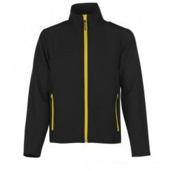 veste softshell bicolor manches longues homme noir/jaune