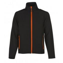 veste softshell bicolor manches longues homme noir/orange