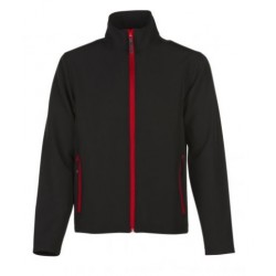 veste softshell bicolor manches longues homme noir/rouge