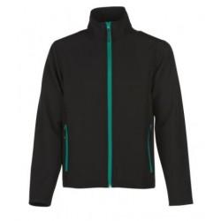 veste softshell bicolor manches longues homme noir/vert