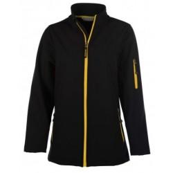 veste softshell 3 couches bicolor manches longues femme noir/jaune