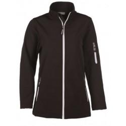 veste softshell 3 couches bicolor manches longues femme noir/blanc