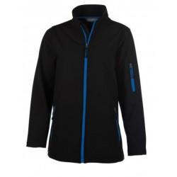 veste softshell 3 couches bicolor manches longues femme noir/bleu