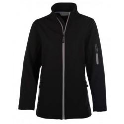veste softshell 3 couches bicolor manches longues femme noir/gris