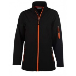veste softshell 3 couches bicolor manches longues femme noir/orange