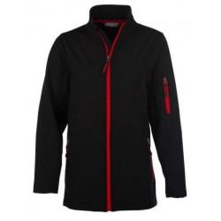 veste softshell 3 couches bicolor manches longues femme noir/rouge
