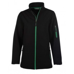 veste softshell 3 couches bicolor manches longues femme noir/vert