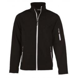 veste softshell 3 couches bicolor manches longues homme noir/blanc