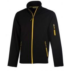 veste softshell 3 couches bicolor manches longues homme noir/jaune