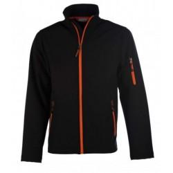 veste softshell 3 couches bicolor manches longues homme noir/orange