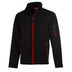 veste softshell 3 couches bicolor manches longues homme noir/rouge