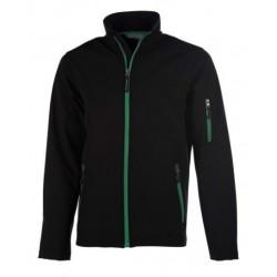 veste softshell 3 couches bicolor manches longues homme noir/vert