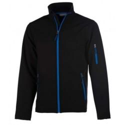 veste softshell 3 couches bicolor manches longues enfant noir/bleu