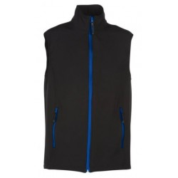 veste softshell bicolor sans manches unisexe noir/bleu
