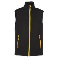 veste softshell bicolor sans manches unisexe noir/jaune