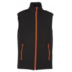 veste softshell bicolor sans manches unisexe noir/orange