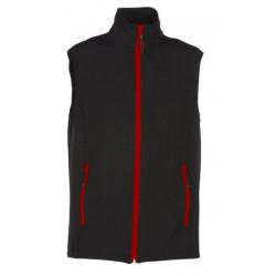 veste softshell bicolor sans manches unisexe noir/rouge