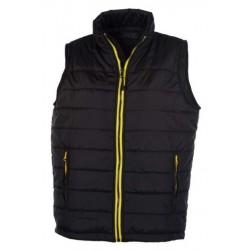 veste bodywarmer matelassé sans manches femme noir/jaune
