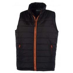 veste bodywarmer matelassé sans manches femme noir/orange