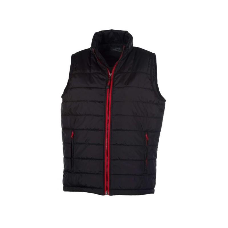 veste bodywarmer matelassé sans manches femme noir/rouge