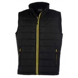 veste bodywarmer matelassé sans manches homme noir/jaune
