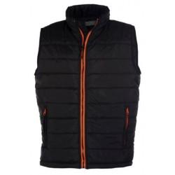 veste bodywarmer matelassé sans manches homme noir/orange