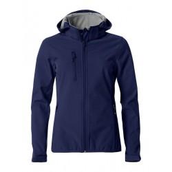 veste softshell à capuche manches longues femme bleu marine