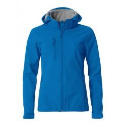 veste softshell à capuche manches longues femme bleue