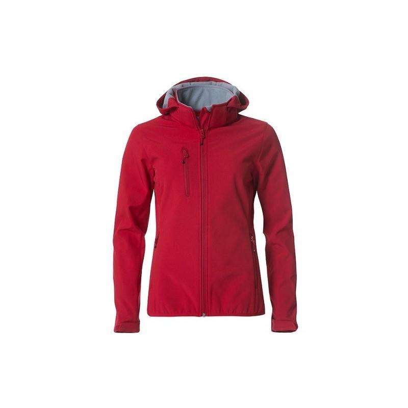 veste softshell à capuche manches longues femme rouge