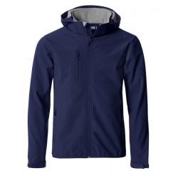 veste softshell à capuche manches longues homme bleu marine
