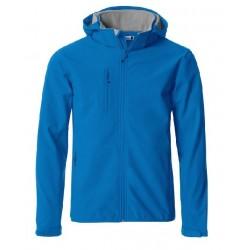 veste softshell à capuche manches longues homme bleue