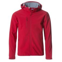 veste softshell à capuche manches longues homme rouge