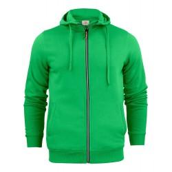 sweat à capuche zippé homme vert avant