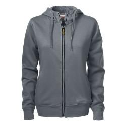 sweat à capuche zippé femme gris avant